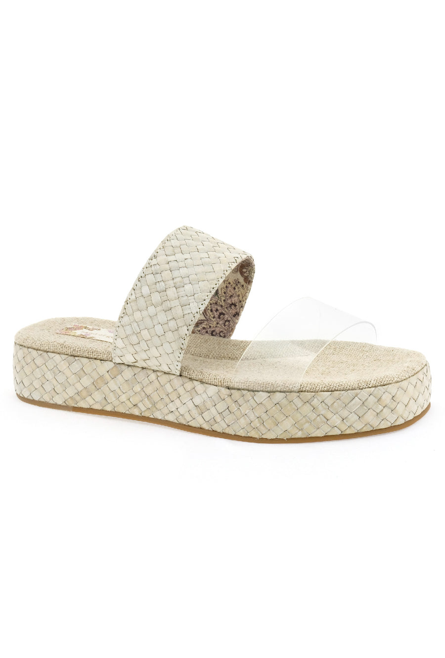Mirth Vegan Vinyl Rattan Clear Wedge Sandal Master