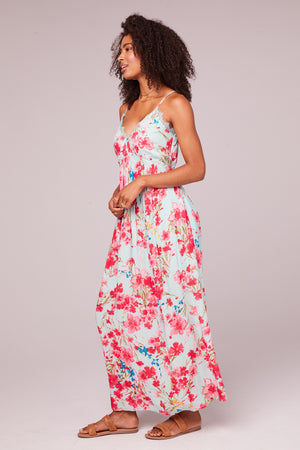 Monique Sky Blue Floral Maxi Dress Side