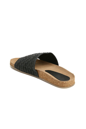 Montana Black Woven Leather Slide Sandal Back