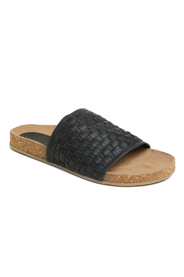 Montana Black Woven Leather Slide Sandal Front