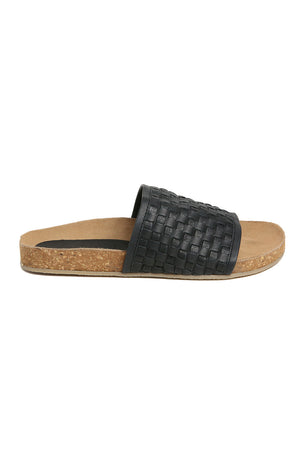 Montana Black Woven Leather Slide Sandal Side