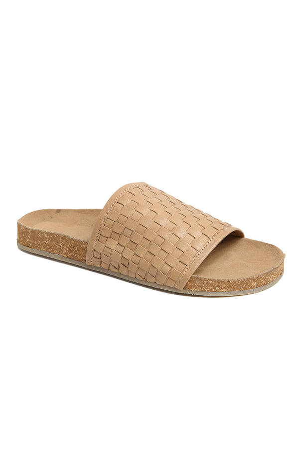 Montana Natural Woven Leather Slide Sandal Front