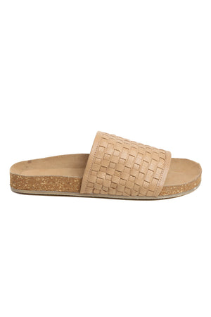 Montana Natural Woven Leather Slide Sandal Side