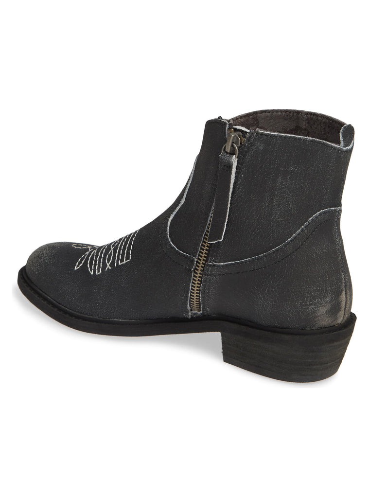 Montrose Black Crackle Leather Booties Back