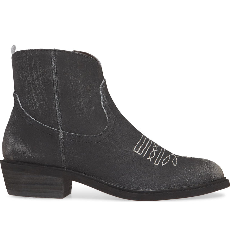 Montrose Black Crackle Leather Booties Side