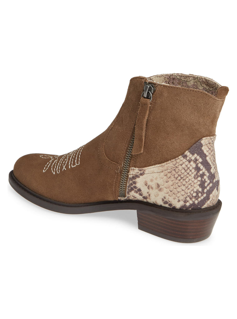 Montrose Natural Snake Skin Leather Booties Back