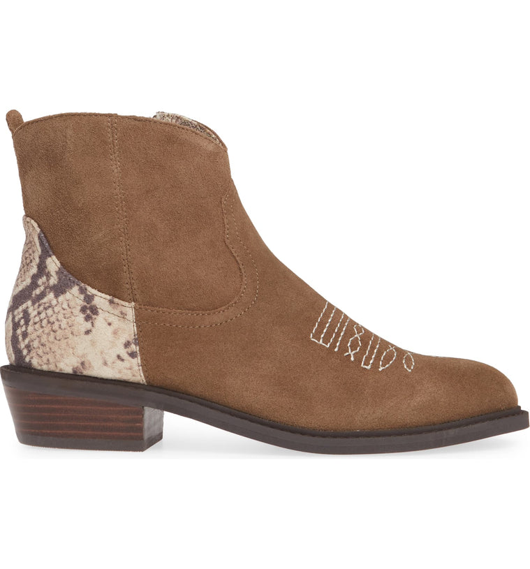 Montrose Natural Snake Skin Leather Booties side