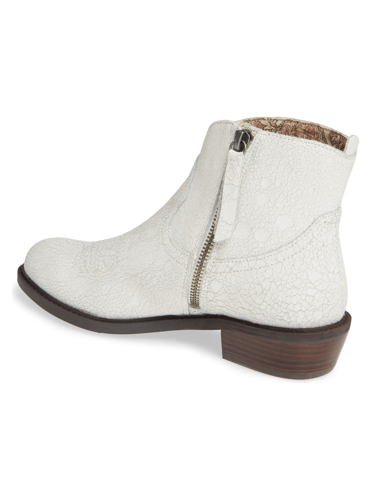 Montrose White Crackle Leather Booties Back
