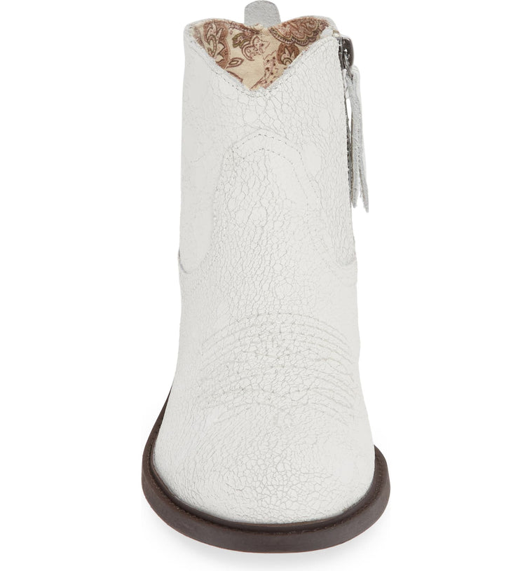 Montrose White Crackle Leather Booties Front