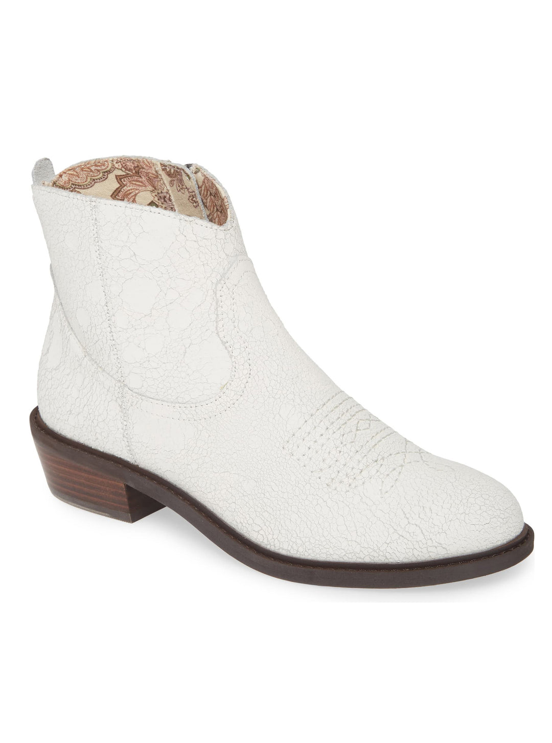 Montrose White Crackle Leather Booties Master