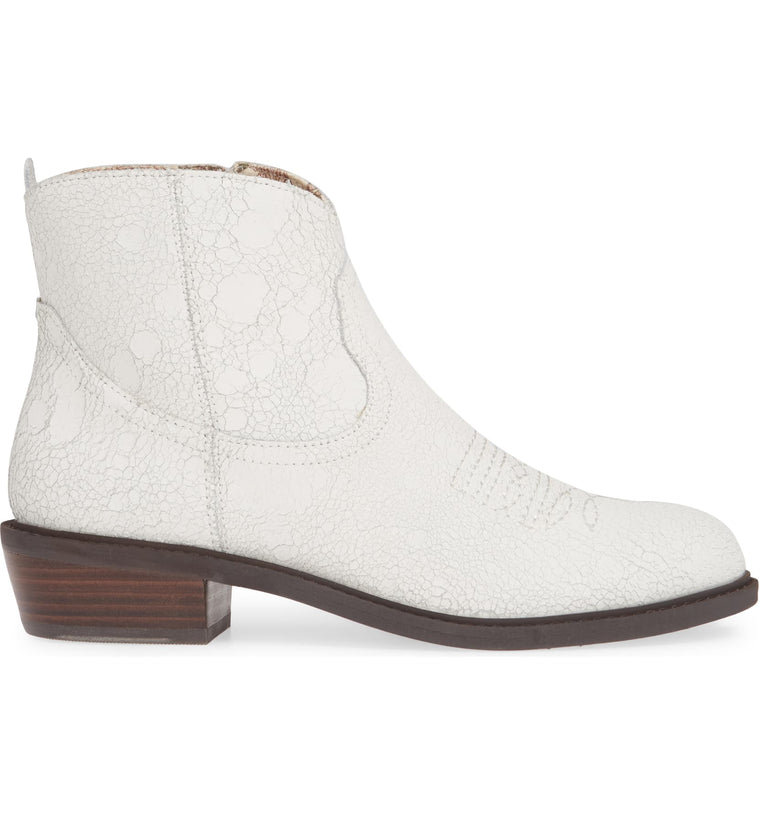 Montrose White Crackle Leather Booties Side