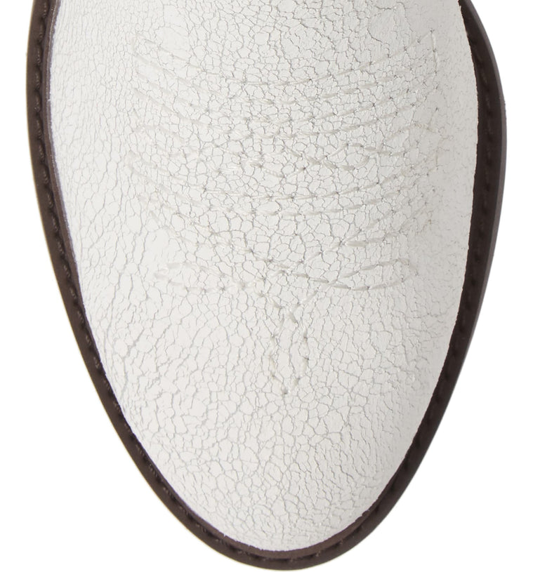 Montrose White Crackle Leather Booties Top