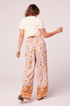 Moorea Wide Leg Floral Drawstring Pants Back