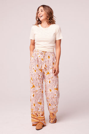 Moorea Wide Leg Floral Drawstring Pants Detail