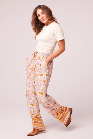 Moorea Wide Leg Floral Drawstring Pants Side