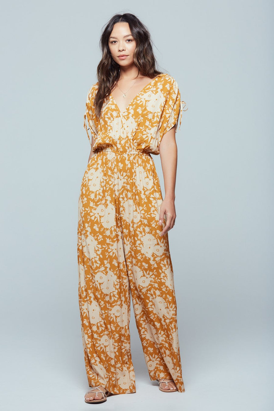 Morgan Gold Floral Print Jumpsuit