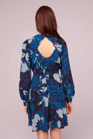 Morningside Sapphire Long Sleeve Mini Dress Back