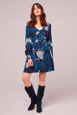 Morningside Sapphire Long Sleeve Mini Dress Front
