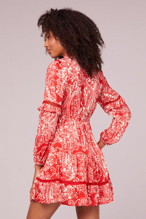 Natalie Paprika Paisley Long Sleeve Mini Dress Back
