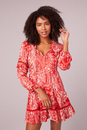 Natalie Paprika Paisley Long Sleeve Mini Dress Detail