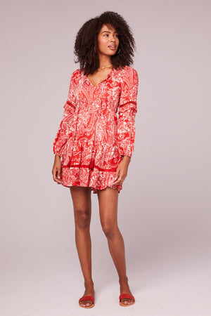 Natalie Paprika Paisley Long Sleeve Mini Dress Front