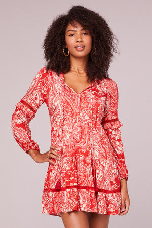 Natalie Paprika Paisley Long Sleeve Mini Dress Master