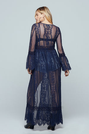 Navy Lace Bell Sleeve Duster Back