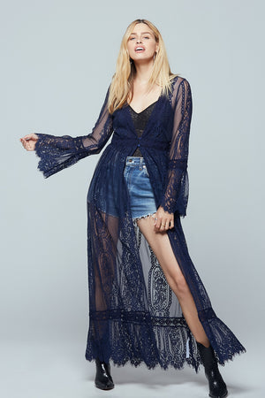 Navy Lace Bell Sleeve Duster Detail