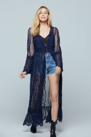 Navy Lace Bell Sleeve Duster Front