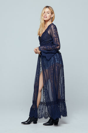 Navy Lace Bell Sleeve Duster Side