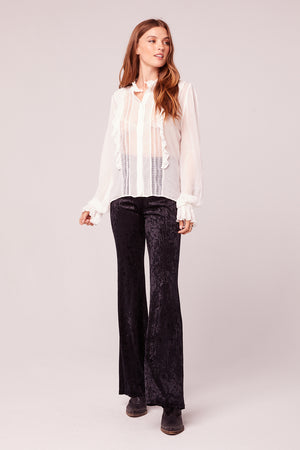 Neuf Black Textured Velvet Flair Pant