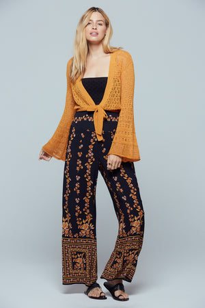New Delhi Gold Bell Sleeve Crop Sweater