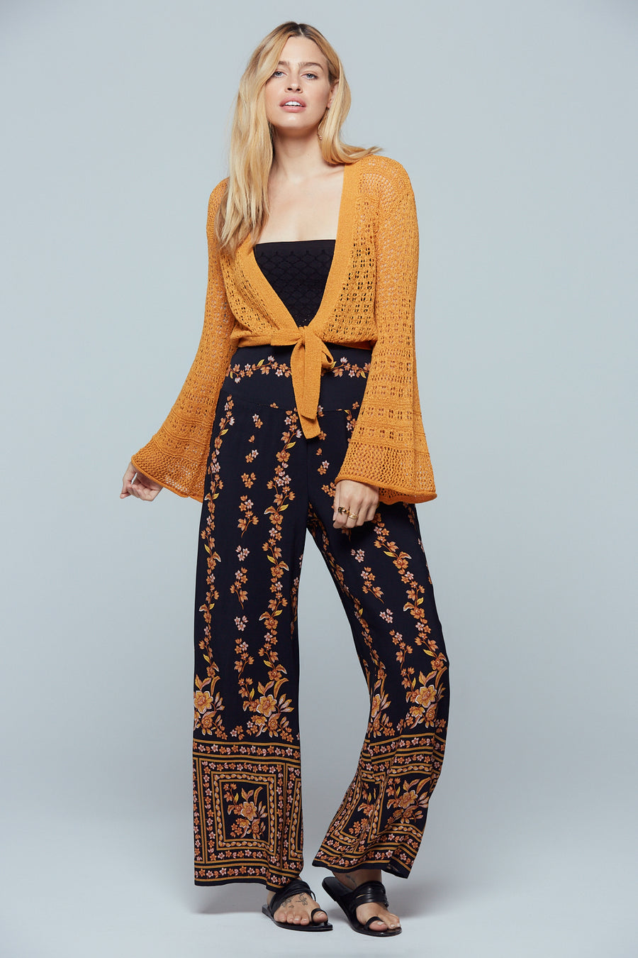 New Delhi Gold Bell Sleeve Crop Sweater Lifestyle