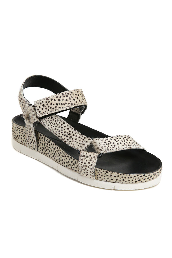 Newport Black and White Cowhair Sandal Front