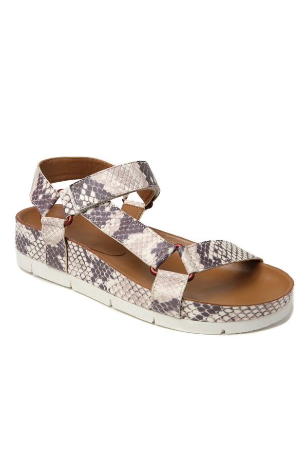 Newport Snake Print Leather Sandal Front