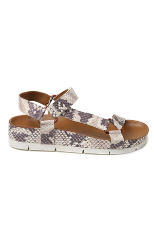 Newport Snake Print Leather Sandal Side