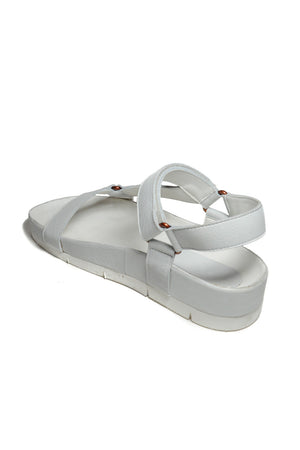Newport White Leather Sandal Back