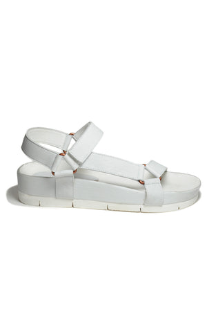 Newport White Leather Sandal Side