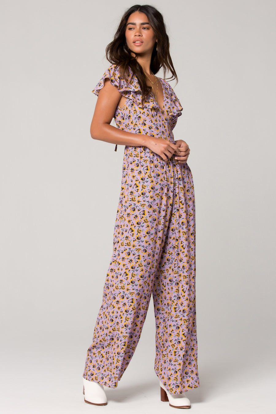 Nice Lavender Floral Ruffle Jumpsuit Master
