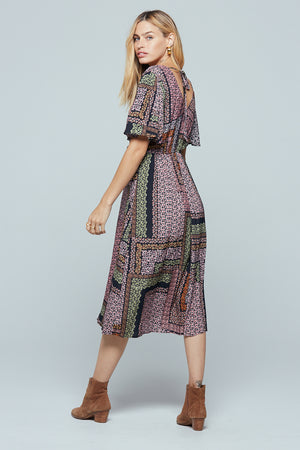Normandy Lavender Ditsy Print Midi Dress Back 2