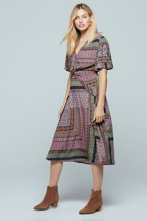 Normandy Lavender Ditsy Print Midi Dress Side