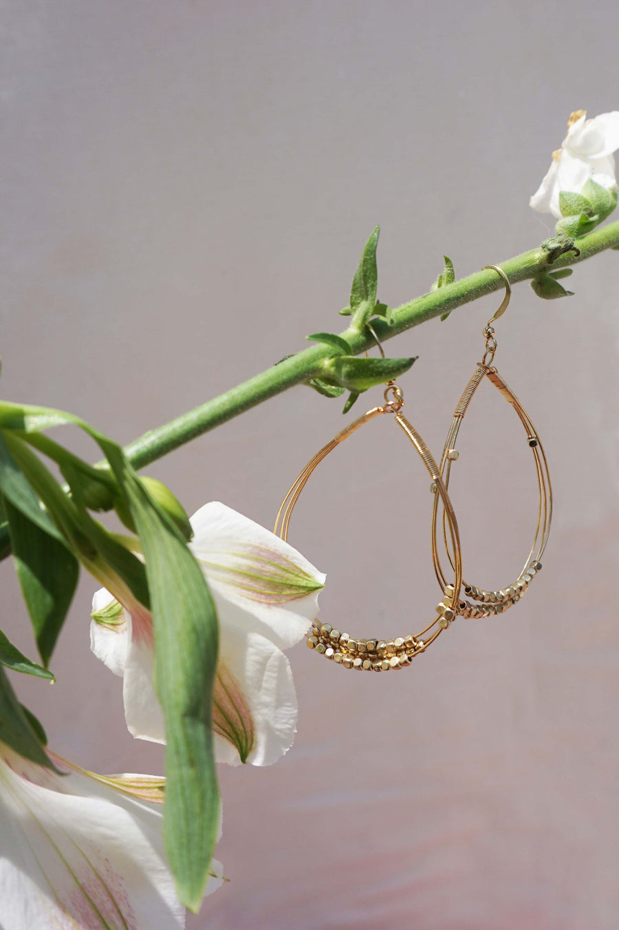 Northern Lights Gold Hoop Beaded Earrings Flat Lay