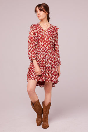 Oak St Long Sleeve Floral Mini Dress Detail