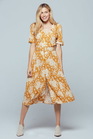 Ohau Tie Sleeve Floral Print Midi Dress