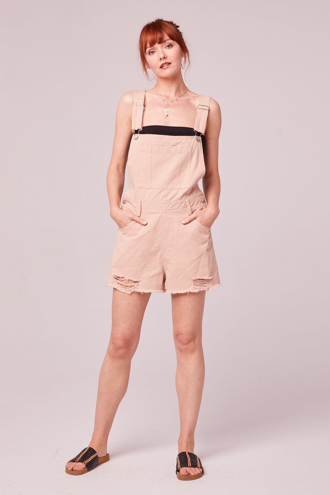 One And Done Blush Short Overall Romper