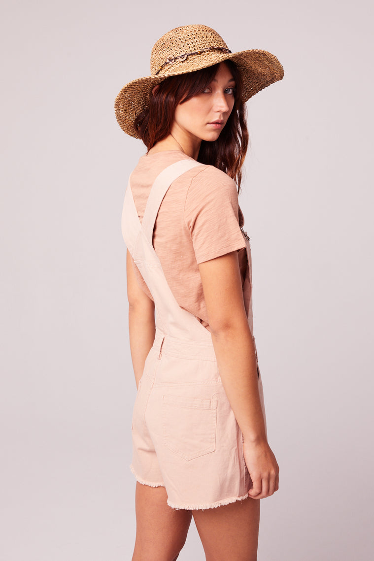 One And Done Blush Short Overall Romper Back2