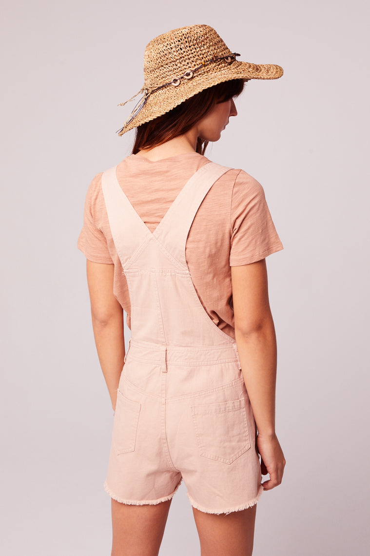One And Done Blush Short Overall Romper Back