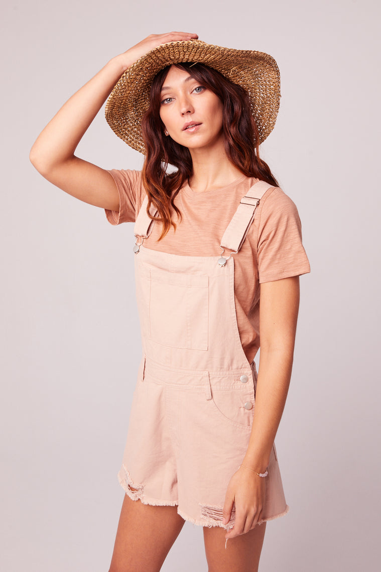 One And Done Blush Short Overall Romper Side