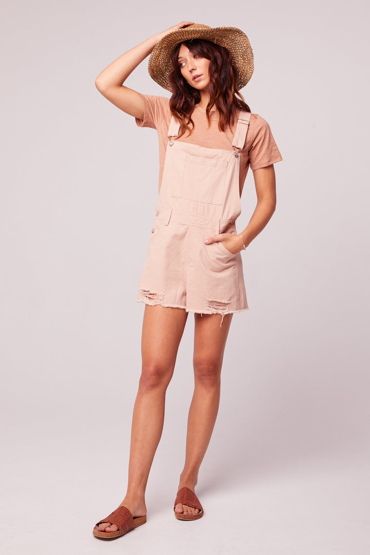 One And Done Blush Short Overall Romper Master
