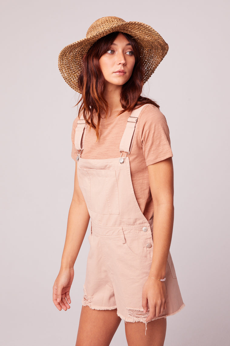 One And Done Blush Short Overall Romper side2